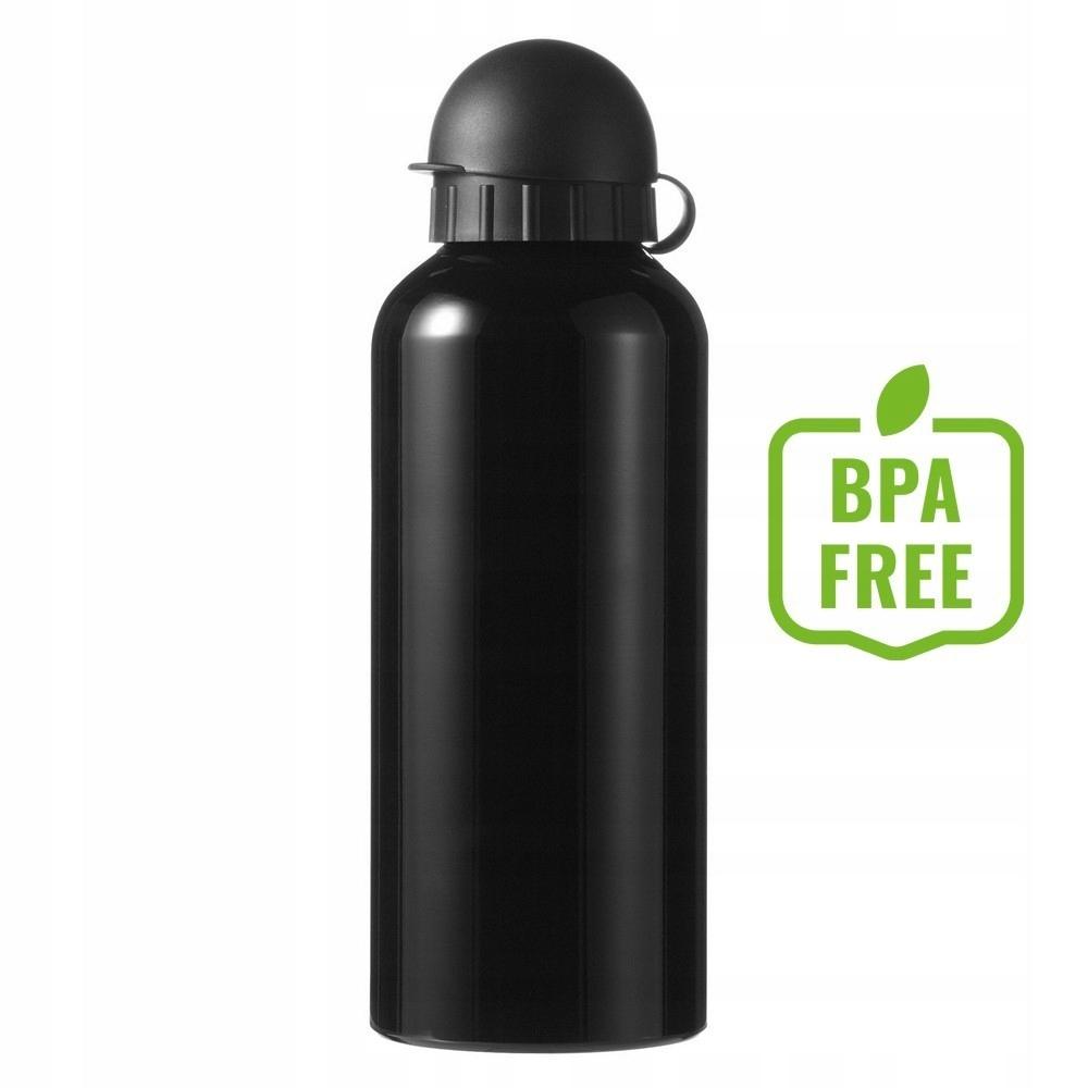 Butelka sportowa 600 ml, aluminium, PP, czarny