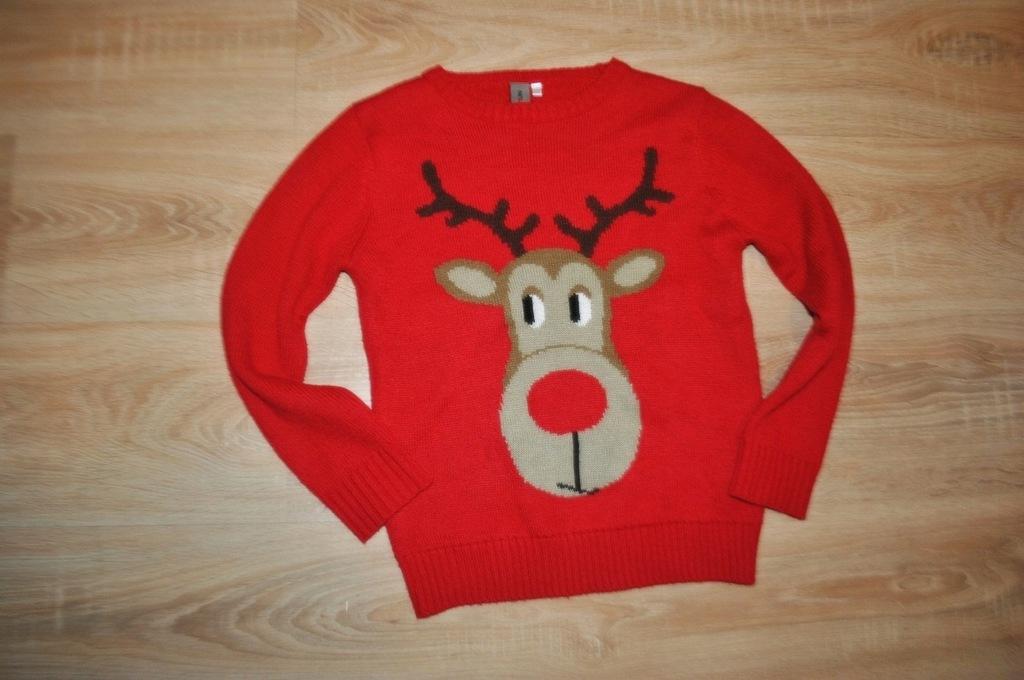 RENIFEREK świąteczny sweterek RENIFER 122-128