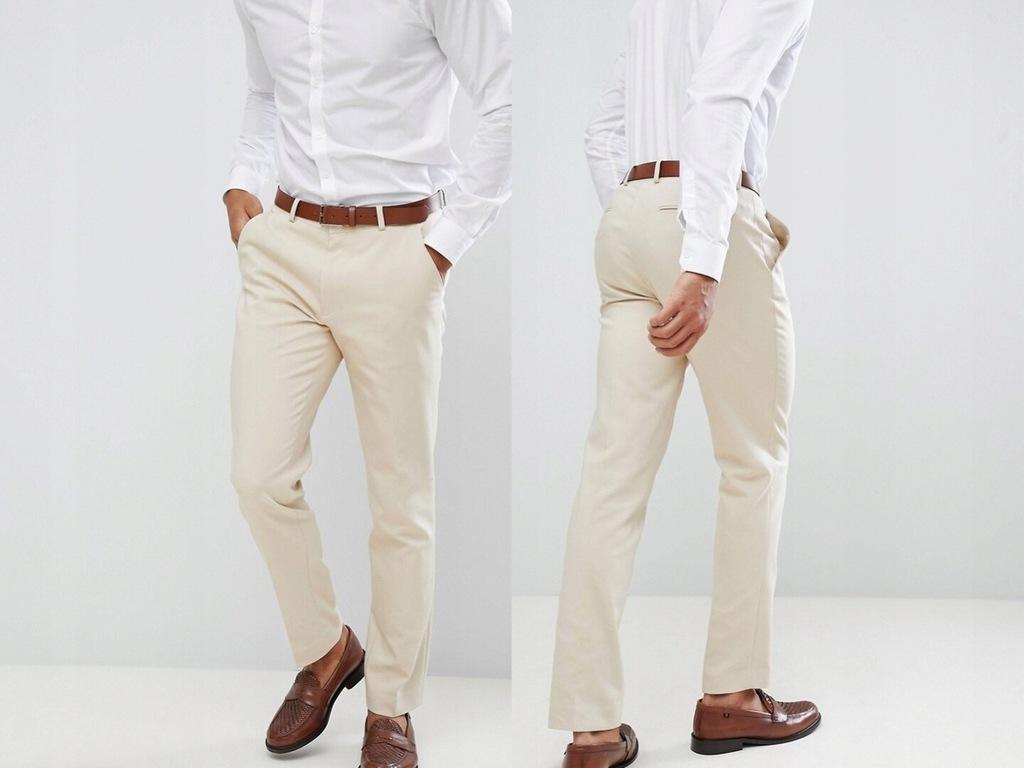 Spodnie w kolorze piaskowym w kant W34 L32