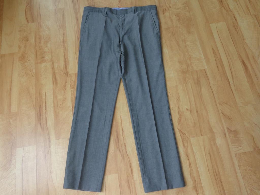 Szare spodnie HUGO BOSS roz. 52 (36R) wełna 100%