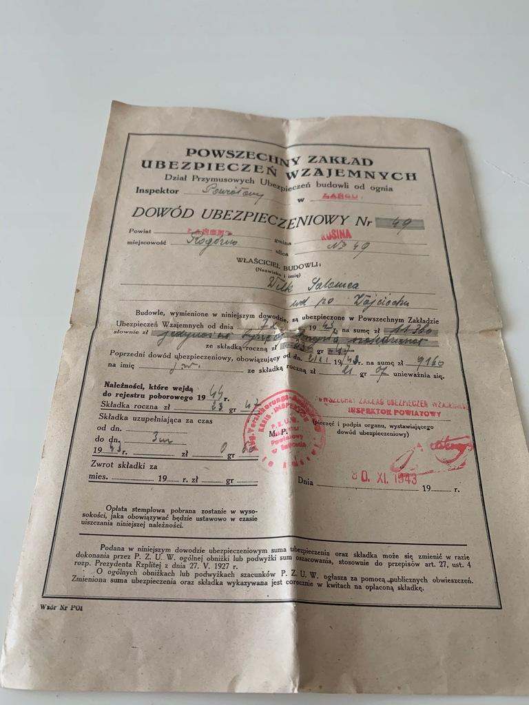 POLISA PZU 1943 ŁAŃCUT POWSZECHNY ZAKŁAD UBESPIECZ