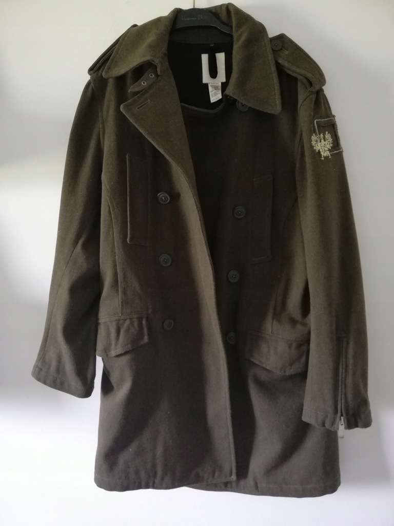 Męski płaszcz wełna Diesel M khaki.