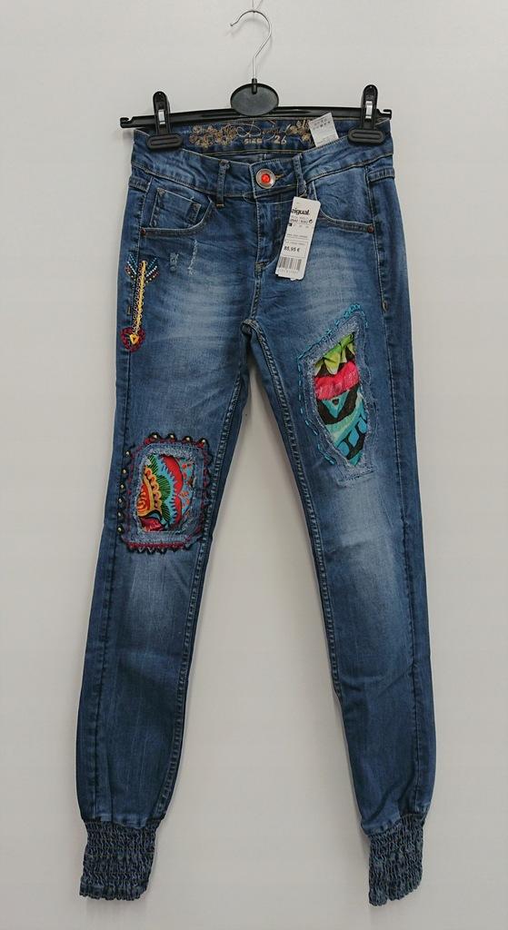 Spodnie damskie DESIGUAL rurki jeans joggery 28