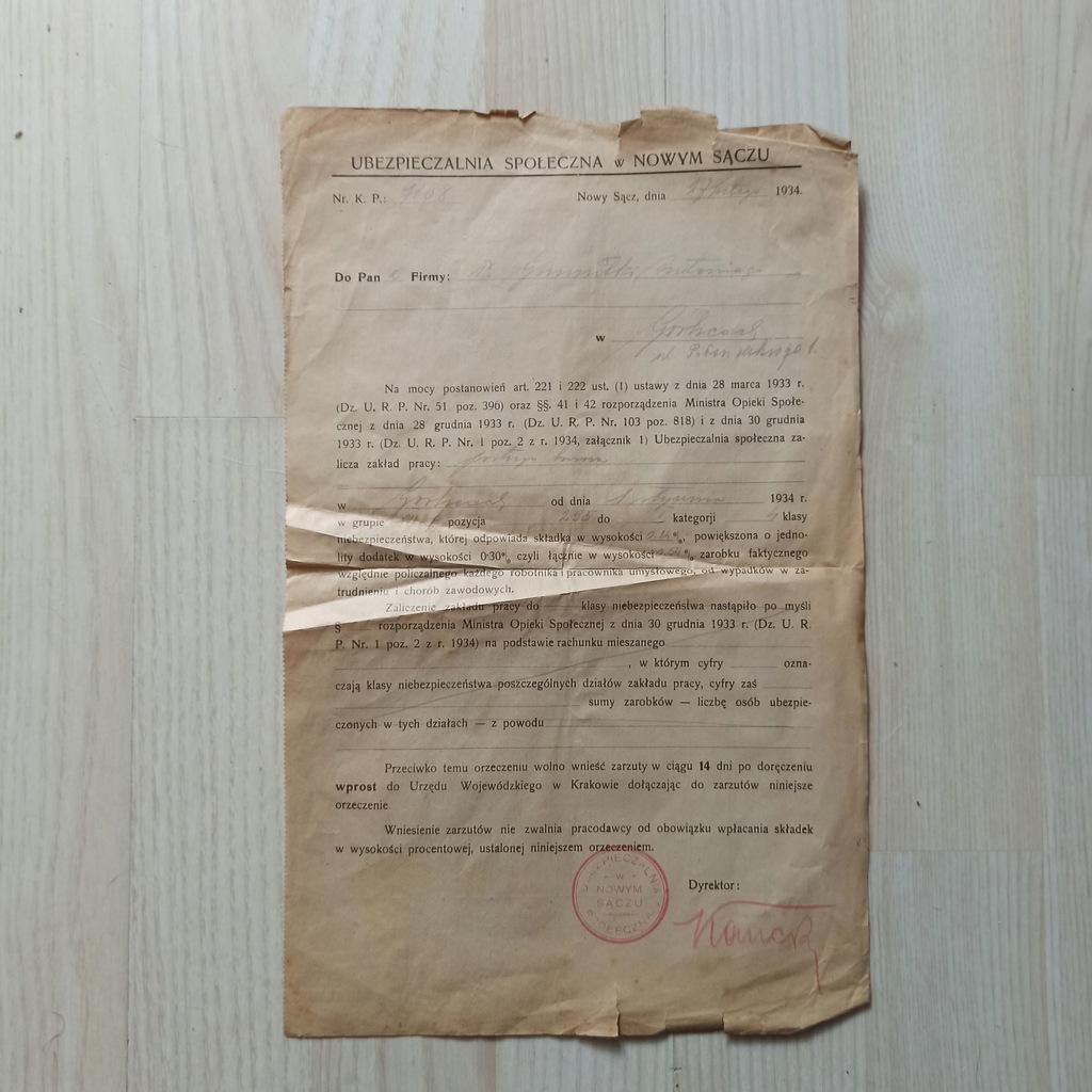 Ubezpieczenie Nowy Sącz 1934r