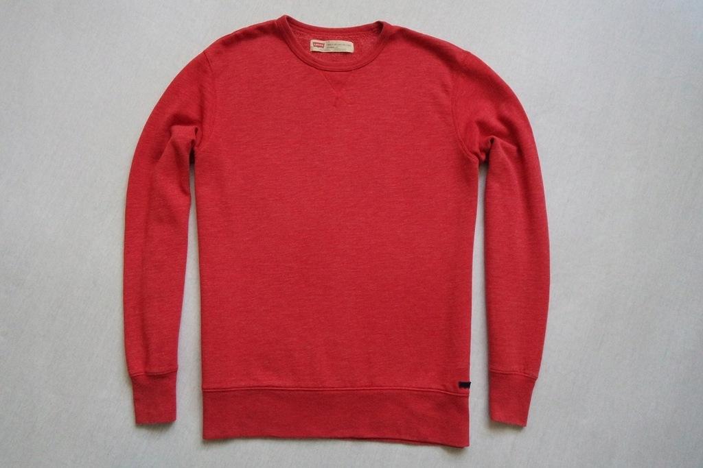 LEVI'S bluza czerwona klasyczna modna logowana___L