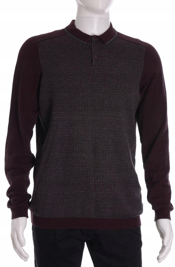 MATALAN cienki bawełniany sweter męski w pepitkę L