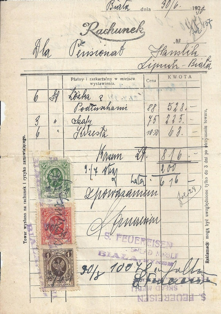 RACHUNEK BIAŁA SKŁAD MEBLI FEUEREISEN 1930 HANSLIK