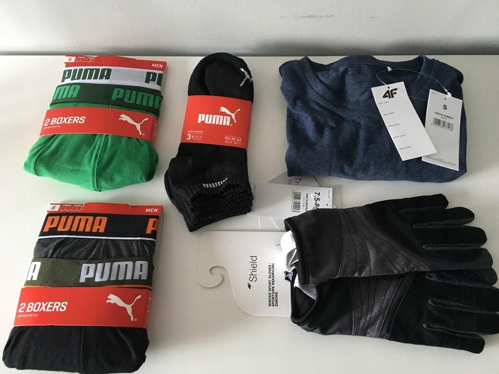 Zestaw: 4F + Puma - Koszulka, rękawice, bokserki