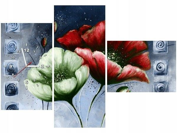 Obraz zegar Czerwone i zielone maki fotozegar