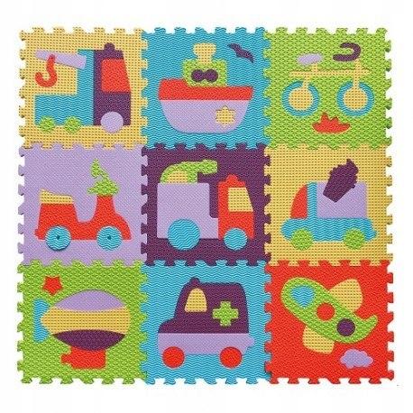Piankowe puzzle podłogowe - bajkowy transport