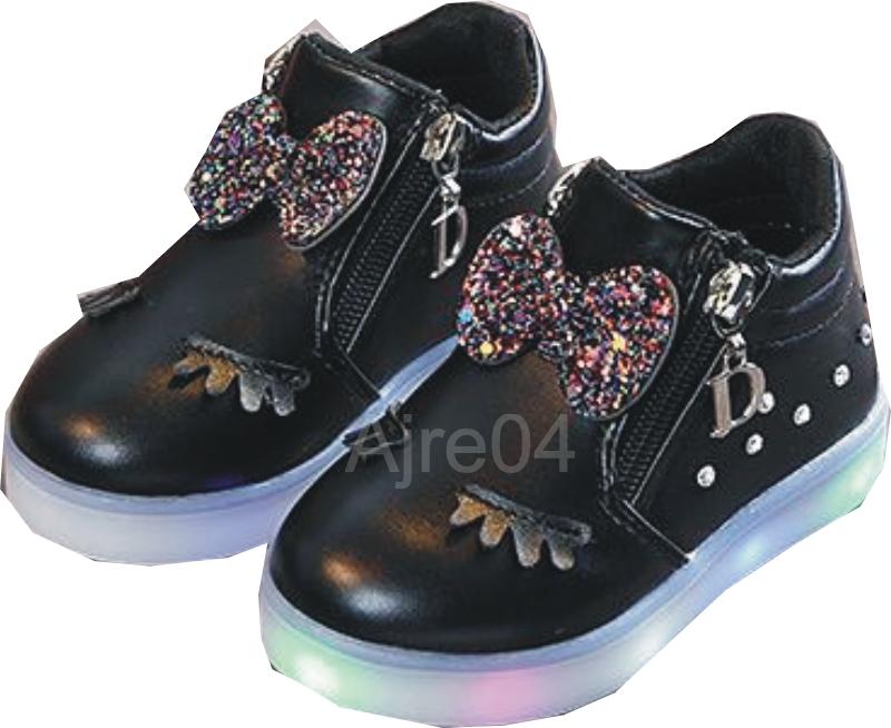 Dziecięce Buty LED Urocze Dziewczęce n Czarne 27