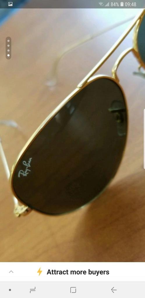 Autentyczne RAY BAN AVIATOR okulary sloneczne 58mm