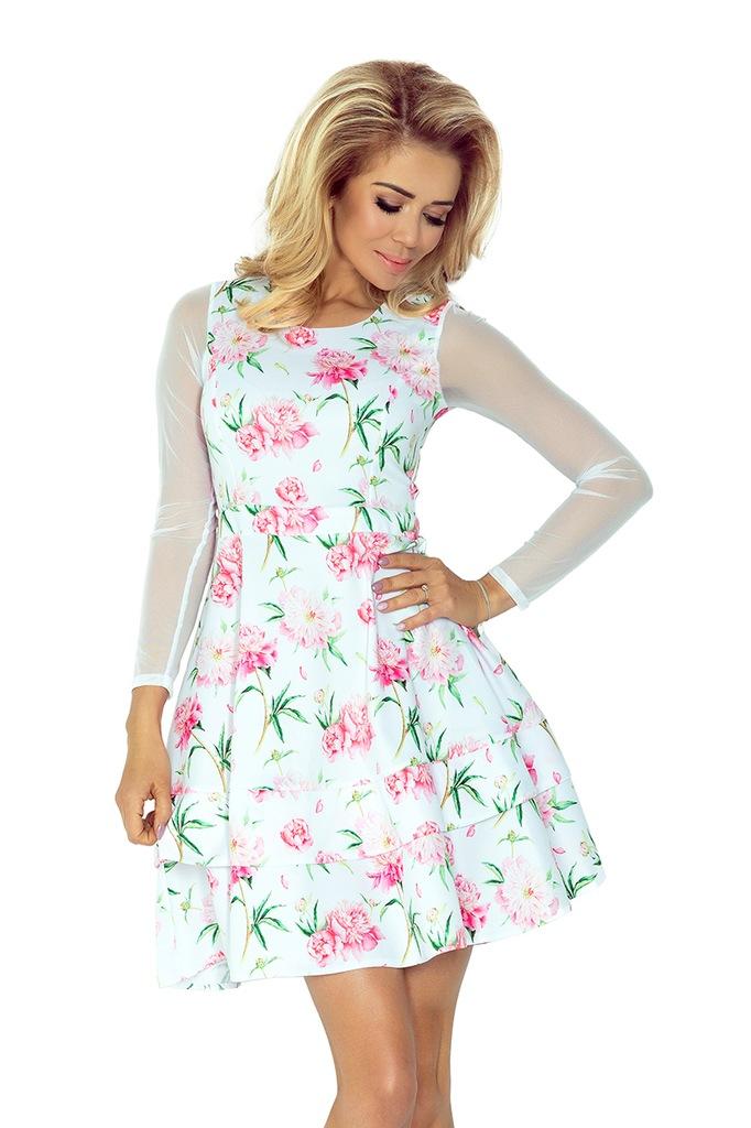 Sukienka TIULOWE rękawy BIAŁA RÓŻOWE KWIATY XL