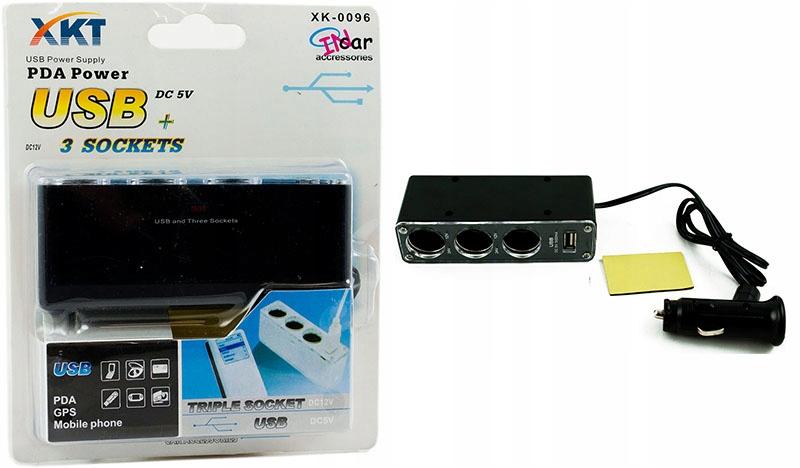 Rozdzielacz zapalniczki 1na 3 +USB