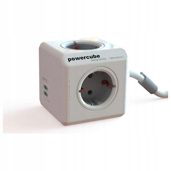 Kostka z Gniazdkami Allocacoc Power Cube USB Szary