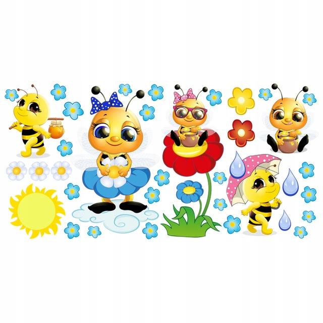 NAKLEJKA NA SCIANE KOLOR Naklejka pszczółki 200x1