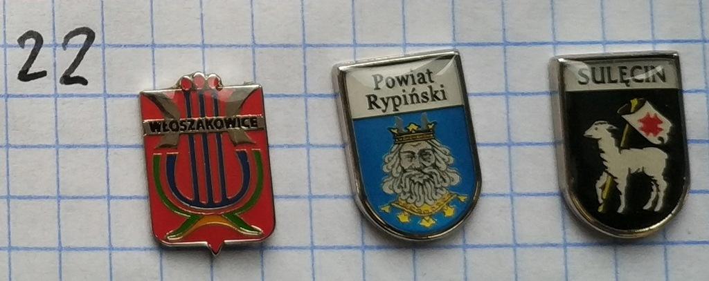 Zestaw odznak 22 Herb Powiat gmina mix heraldyka