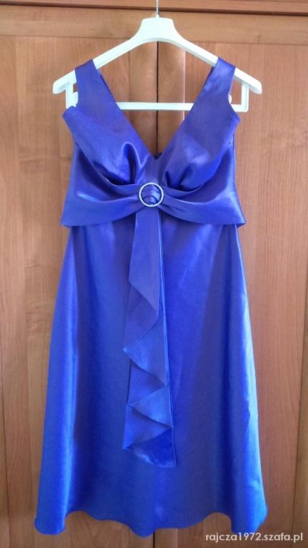 Atłasowa sukienka fioletowa 42 wiązana na szyję