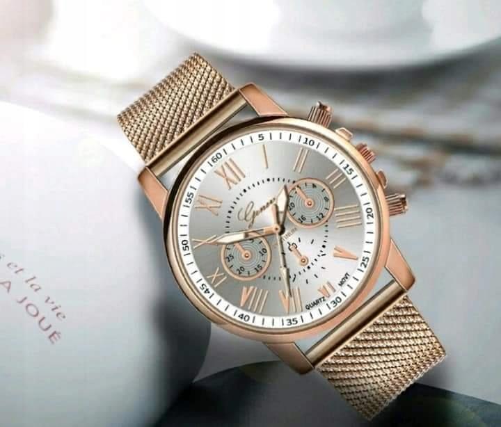 Zegarek złoty mesh bransoletka