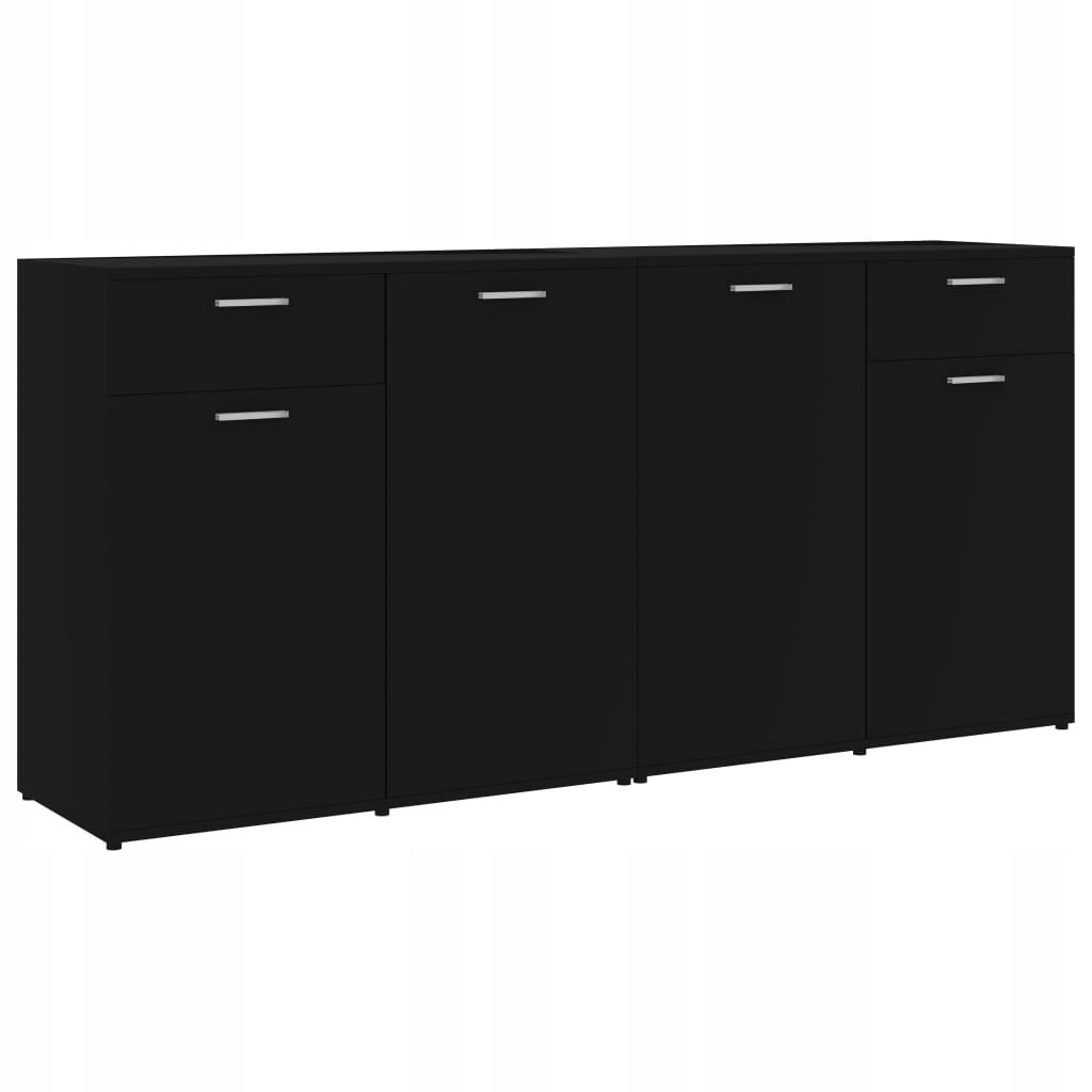 Szafka, czarna, 160 x 36 x 75 cm, płyta wiórowa