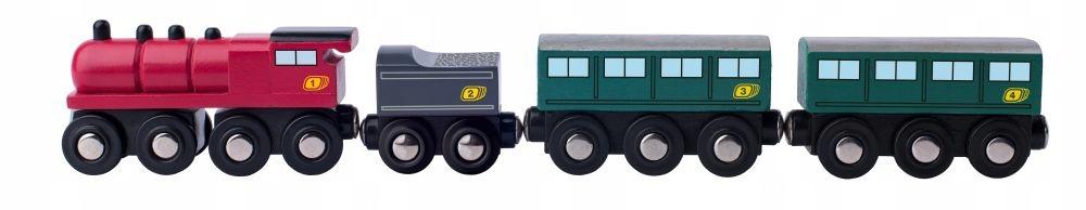 Pociąg ekspress Kolejka drewniana uniwersalna 34cm