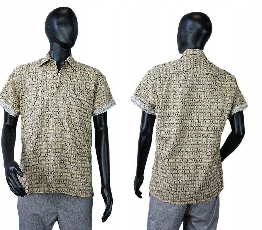 PIERRE CARDIN Beżowa wzorzysta koszula rękaw (M)