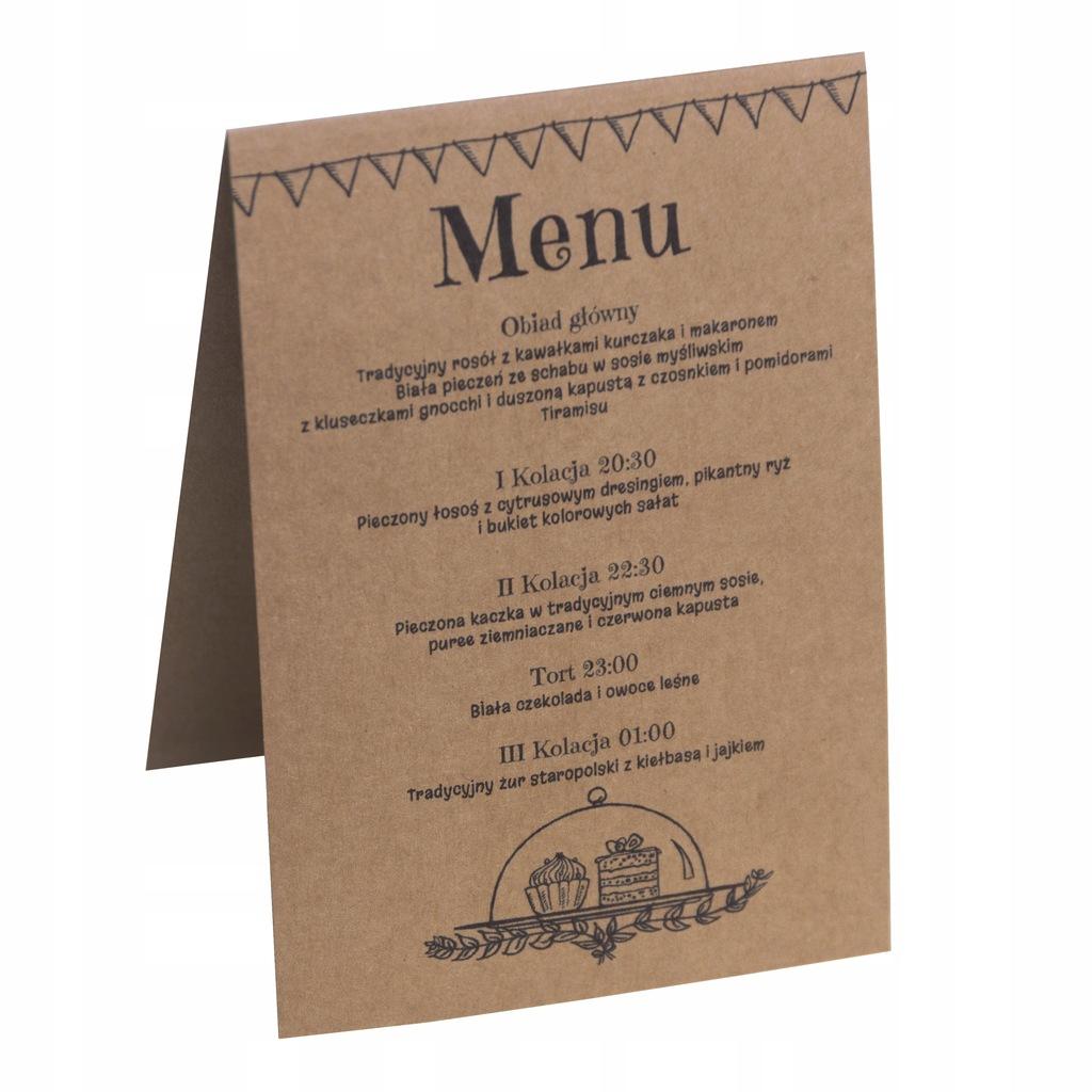 Menu weselne karta dań na stół eko rustykalne ślub