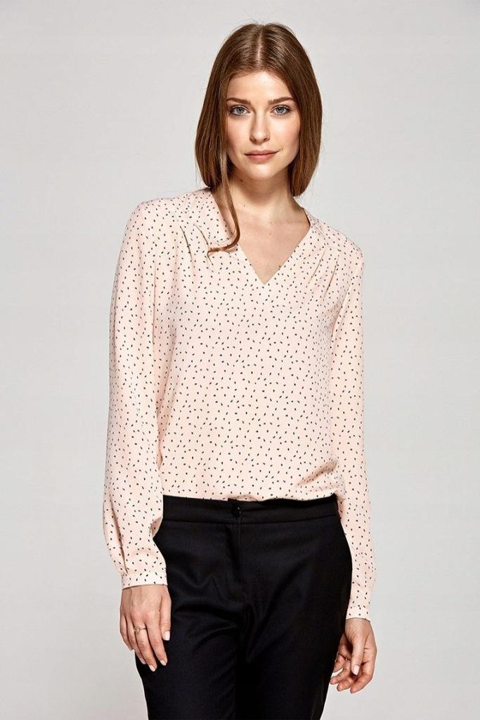Bluzka koszula róż wzór poliester długi szpic zasz