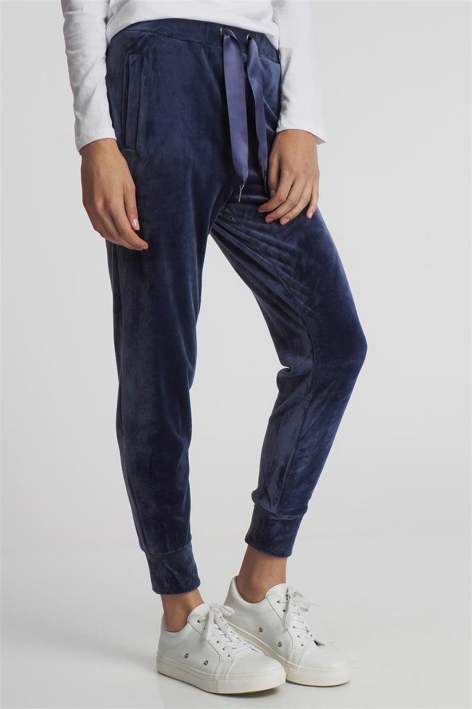 Spodnie dresowe damskie welurowe granatowe XL
