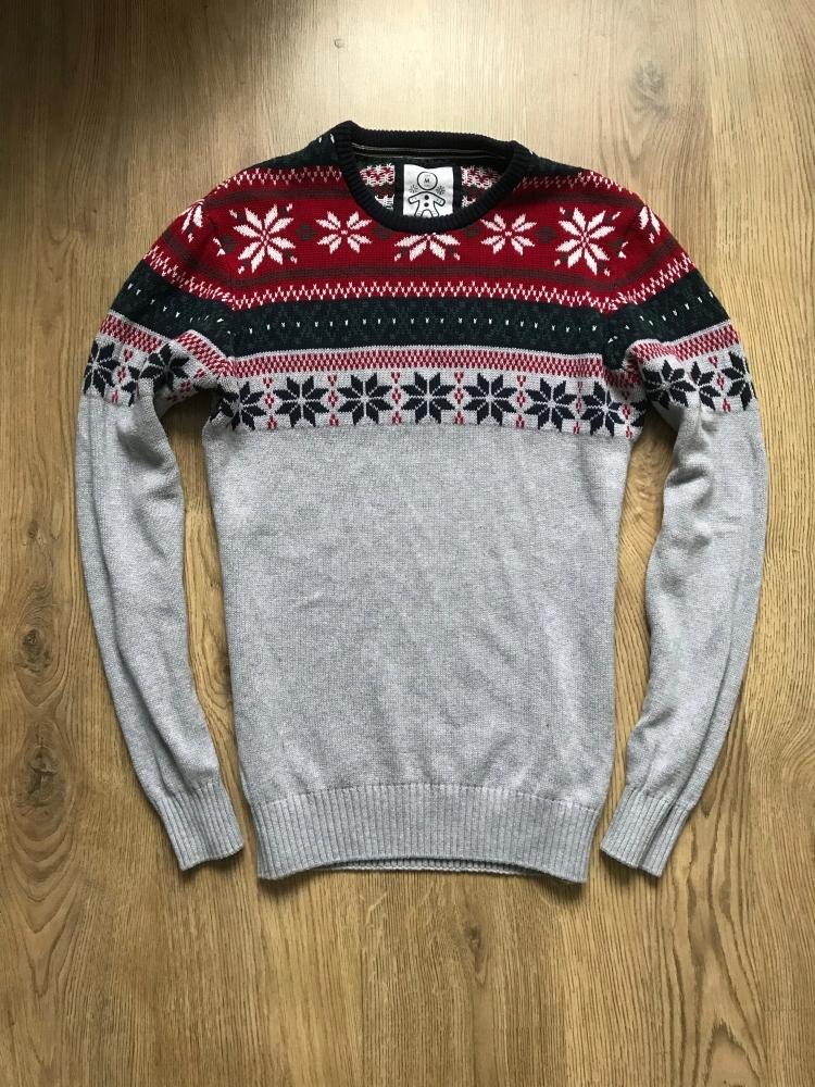Męski Sweter Świąteczny HOUSE (M) Szary Jak Nowy