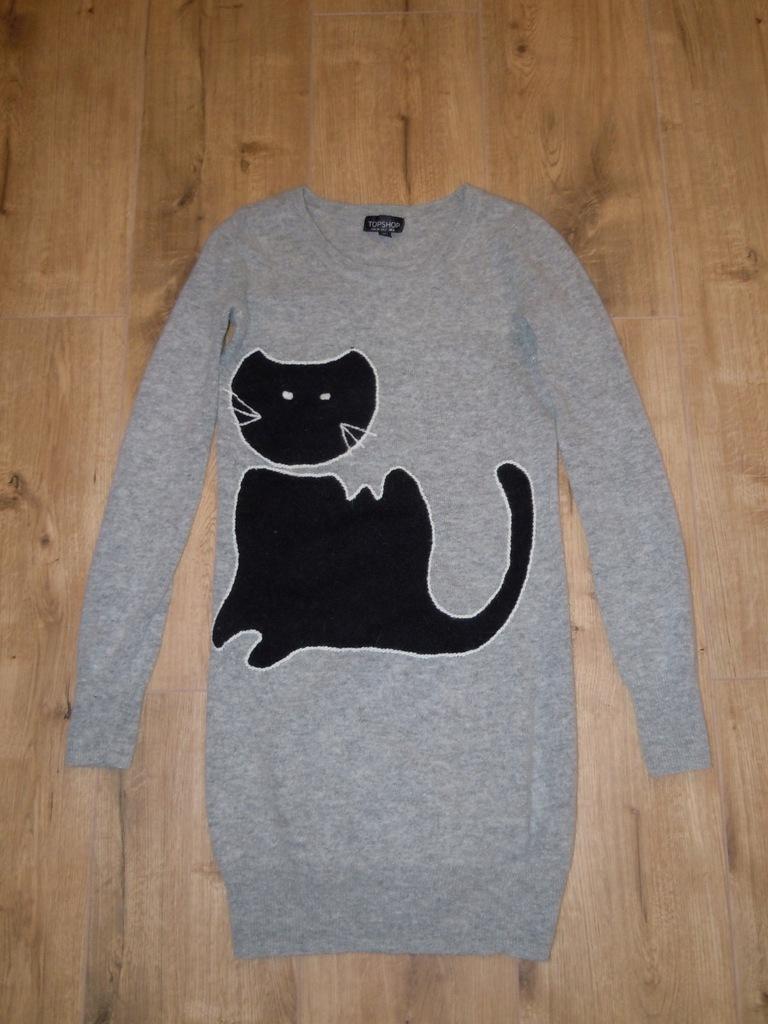 TOPSHOP długi sweter r.XS/S BDB wełna