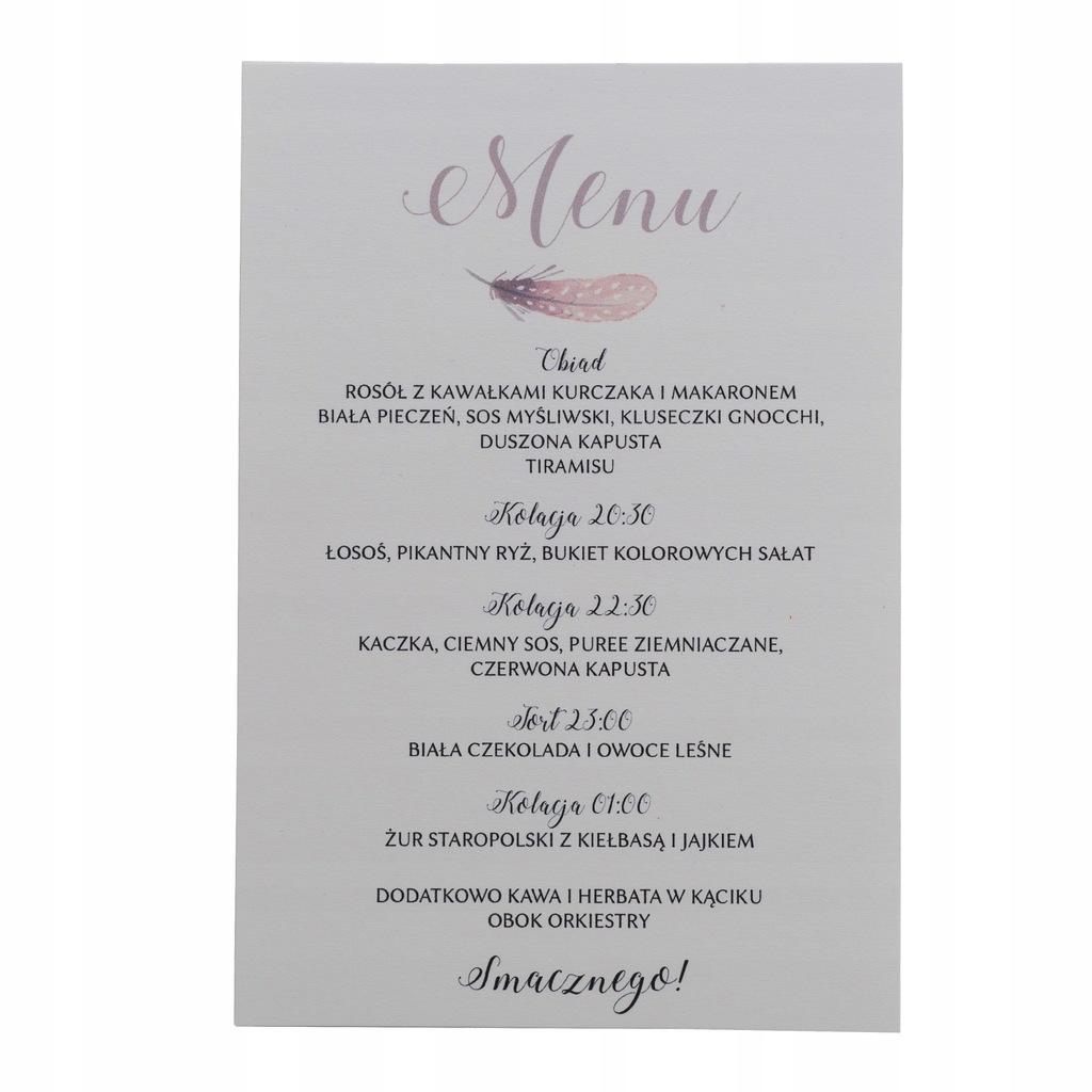 Menu weselne na wesele karta dań drinków ślub boho