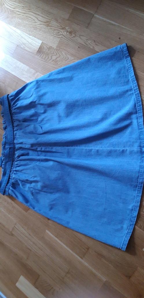Spódniczka jeansowa, pasek, marszczenia, rozm. 42