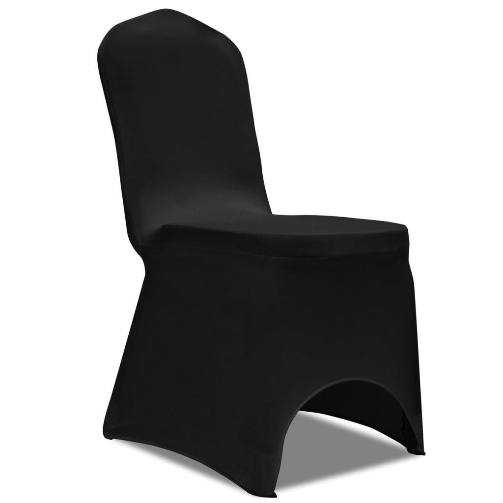 Elastyczne pokrowce na krzesła, 50 szt., czarne