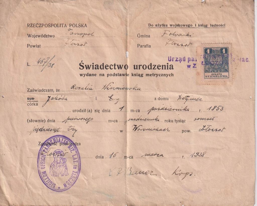 METRYKA URODZENIA TARNOPOL ZŁOCZÓW FOLWARKI 1938