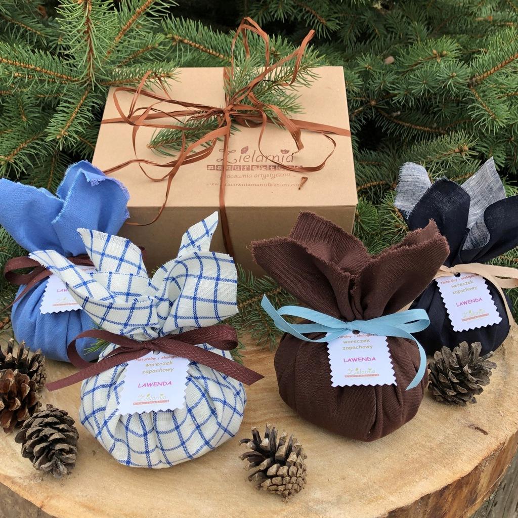 Woreczki lawendowe zestaw 4 szt prezent świąteczny