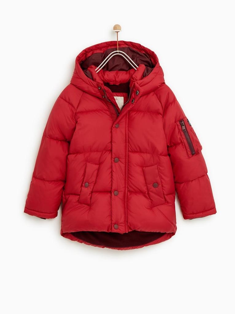 ZARA, czerwona pikowana kurtka chłopięca r.116 56