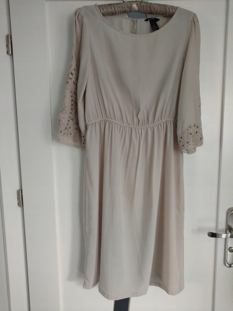 H&M sukienka nude balonowy rękaw haft_L 40