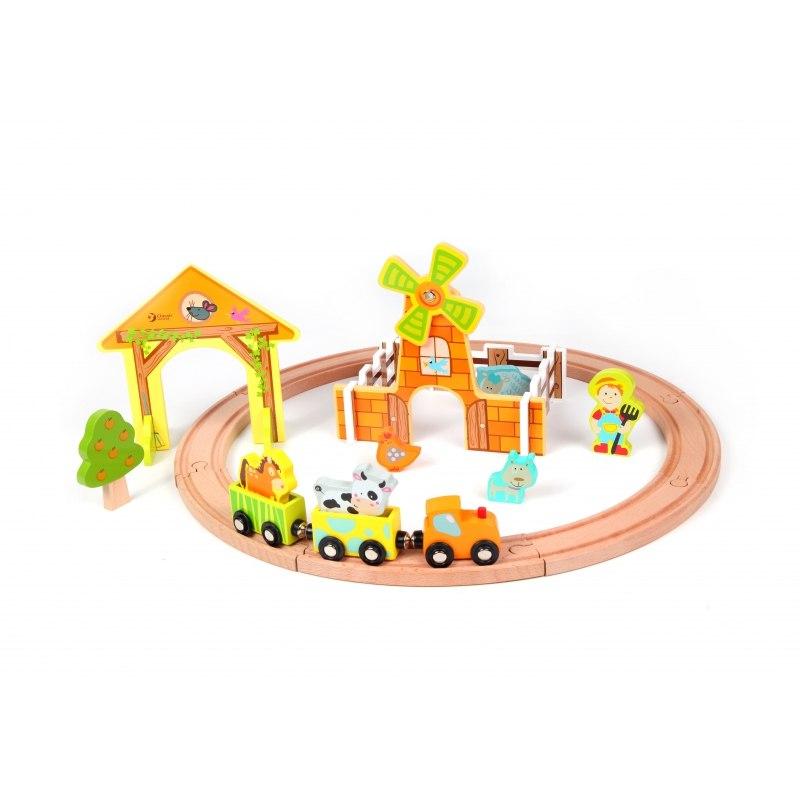 Kolejka Dla Dzieci Drewniana Zestaw Farma Classic
