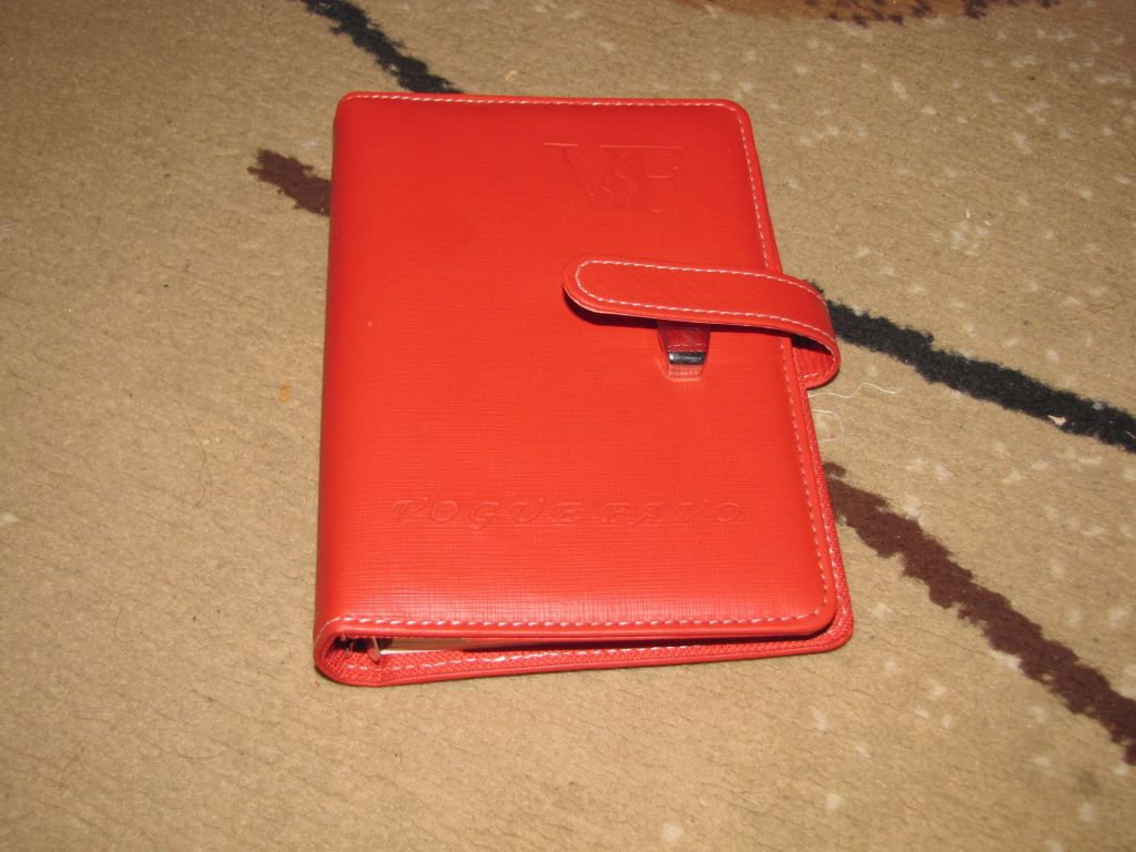 organizer, notes, eko skórka, czerwony.