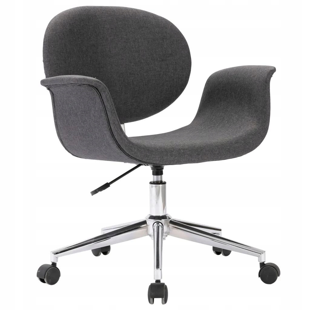 Fotel Krzesło Do Biurka Obrotowe Szare Tkanina