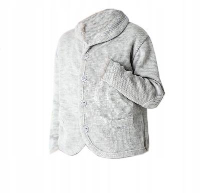Rozpinany sweterek szary na guziki roz 110