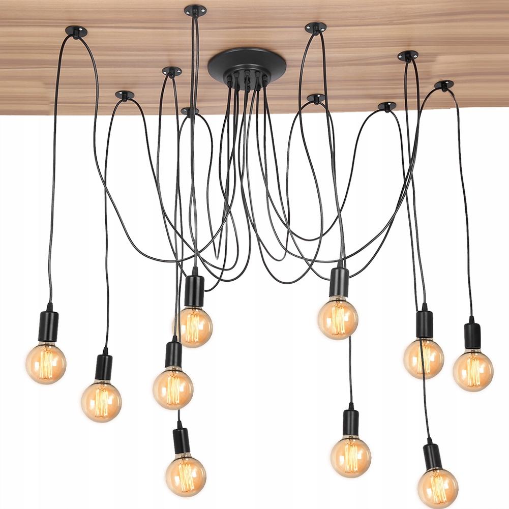 industrialna E27 Lampa 10x wisząca czarna pająk