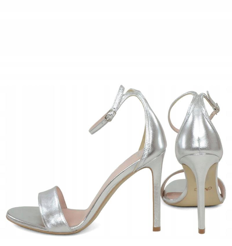 GASSU AVA srebrne sandały na obcasie 39 7748665379
