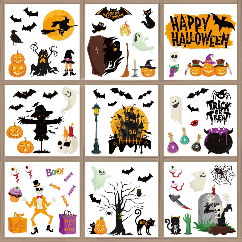IMIKEYA 6 arkuszy Halloweenowe przylega do okna Wy