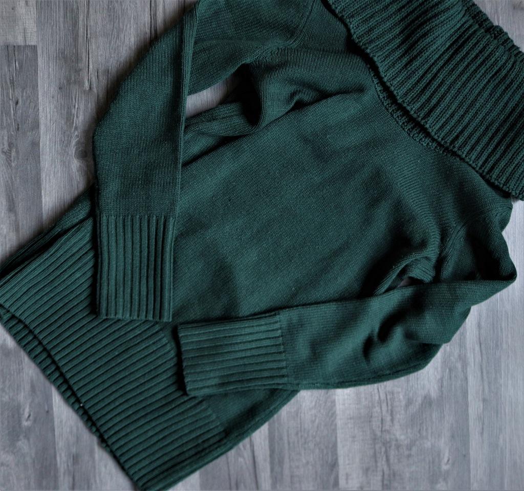 H&M zielony ciemny golf sweter klasyczny M