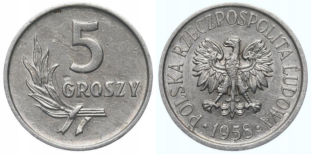 227.Polska - PRL - 5 groszy - 1958 - St.2 #A