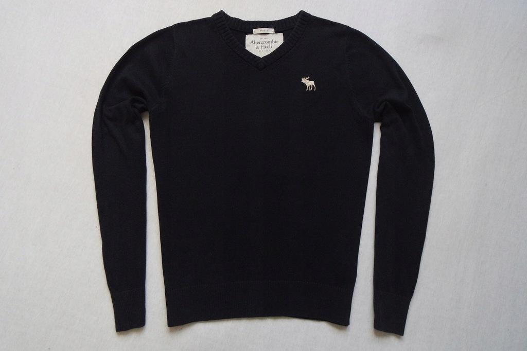 ABERCROMBIE FITCH sweter sweterek granatowy logo_L