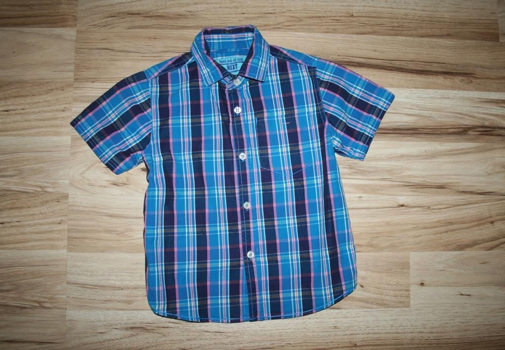 NEXT świetna niebieska koszula w kratkę 110