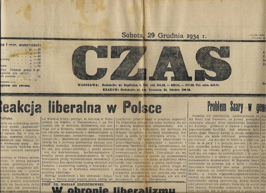 CZAS 1934 356 Liberalizm Kraków